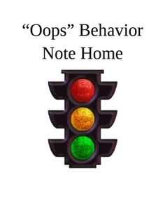 FREE behavior note to send parents when students move from green light