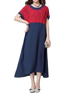 Sale 14% (29.4$) - Women Vintage Cotton Embroidered Stitching Short-Sleeve Loose Dress