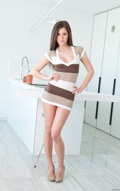 hotminiskirts:  Beautiful Little Caprice in a stripy mini dress.