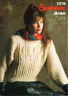 "ladies aran sweater knitting pattern pdf download womens aran sweater arn jumper wheatfield design 30-40"" aran worsted 10 ply by Hobohooks on Etsy"