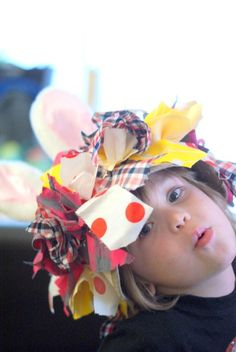 Easter Bonnet from scraps of material and bunny ears - would do with girly prints
