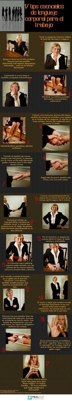 Hola: Una infografía con 17 consejos lenguaje corporal para el trabajo. Un saludo