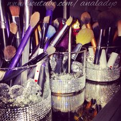 I reused bath and body works candle holders to make makeup brush holders ! #makeupbrushholders #makeuporganization