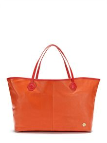 tangerine bag. all leather. if you have tangerine outfit, better have a tangerine handbag.