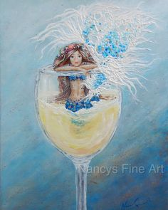 Mermaid in a wine glass wall art blue mermaid by NancysFineArt