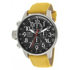 Invicta Men's 11518 I-Force Chronograph Black Dial Yellow Rifle Watch Invicta. $118.10. Chronograph functions with 60 second, 60 minute and 1/10th of a second subdials; date window at 4:00. Mineral crystal; stainless steel case; yellow rifle strap. Black dial with black and white hands, white Arabic numerals and red second hand; tachymeter scale on inner bezel; luminous; crown and pushers at 9:00. Water-resistant to 100 M (330 feet). Swiss quartz movement. Save 80% Off!