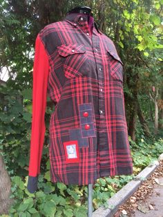 Bright red and grey upcycled shirt with knit sleeves.