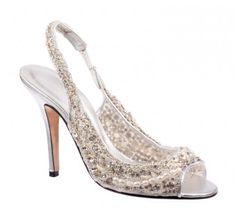 Gold Sling Back Bridal Shoes