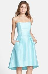Alfred Sung Strapless High/Low Dupioni Dress