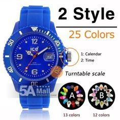 Unisex Silicone Sport Ice Style Colorful Jelly Band Wrist Watch Calendar Date- US $6.35