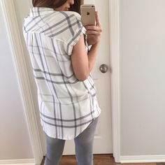 """✨ Grey & White Plaid Top • Item Information: Just love this top. The fabric is very soft, well made and has a very cute fit. 100% rayon. Great color combo for a warm day! Medium measures: 28"""" long • 19"""" chest • 21.5"""" across the bottom. * Grey basic tank is for sale as well *  • Size I'm modeling: Medium   • Sizes available: Medium & Large ONLY   {{ Please do not purchase this listing, I will create you a new listing to purchase }} Thank you! Xo Tops Tees - Short Sleeve"""