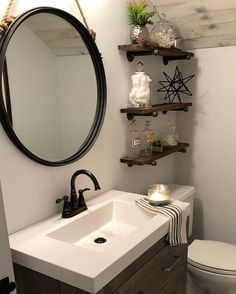 I'm done with my kids bathroom, and I couldn't be more thrilled with how it turned out! So excited to see my vision come to life. And can we talk about that gorgeous diy ceiling from Weaber Lumber or how about that mirror from Wayfair.com .. the perfect pieces to tie everything in! Swipe for before shot and other shots of the space. It is a very small bathroom and definitely difficult to photograph. #littlewhitecabin #weaberlumber #wayfair #farmhousebathroom #diy #blackandwhite #bathr...