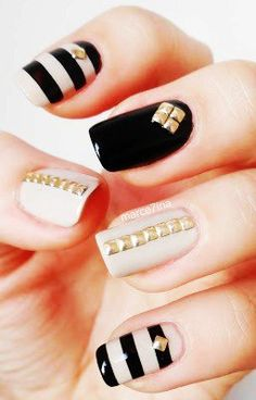 Gold Square Studded Nails, 2014 valentine's day nails ideas  www.loveitsomuch.com