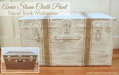 Travel Trunk -Grain Sack Stripes - Makeover - Before and After - artsychicksrule.com - #chalkpaint #coco #grainsackstripes