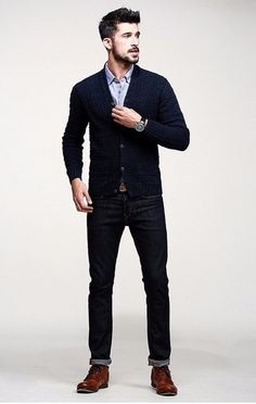 A navy cardigan and dark blue jeans are great staples that will integrate perfectly within your current looks. Dress up your getup with brown leather casual boots.
