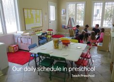 Teach Preschool's daily class schedule. Always fun to see how other teachers organize their day.