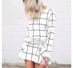 2 piece long sleeve pullover and skirt in windowpane print