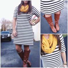 Fall Stripes, mustard scarf, brown riding boots  www.proverbsliving.org