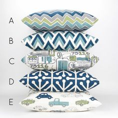 Navy & Green Throw Pillow Mix & Match Patterns by DeliciousPillows