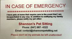 ICE Cards for shannon's pet sitting
