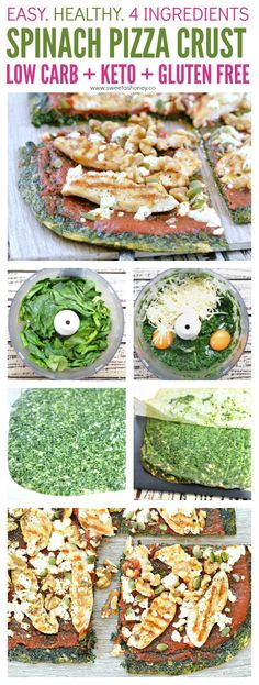 Spinach pizza crust **adapt for Optavia Lean and Green on 5 and 1! (low carb breakfast options)