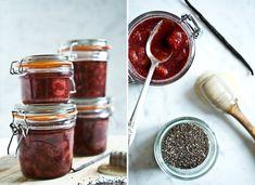 Jahodová marmeláda s chia semínky a vanilkou Kitchenette, Mason Jars, Kitchen Appliances, Chocolate, Cooking, Desserts, Tofu, Chemistry, Diy Kitchen Appliances
