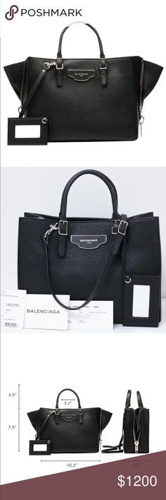"""NWT Balenciaga Papier A6 Zip Plate Black Handbag This is a brand new and never used Balenciaga handbag. It is in perfect condition.   The name of the bag on the Balenciaga website is """"Balenciaga Papier A6 Zip Around Plate"""" - cross body grained calfskin bag with zips and gussets at both sides.   Comes with original price tag and authenticity card. This purchase however DOES NOT include the dust storage bag as it was misplaced.   Size: 10.5"""" length X 7.5"""" height X 4.5"""" depth. Top handle drop…"""
