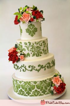 Spring Green Damask Wedding Cake by Pink Cake Box in Denville, NJ.  More photos and videos at http://blog.pinkcakebox.com/spring-green-damask-wedding-cake-2011-05-21.htm