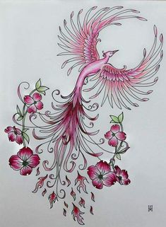Pink Phoenix Freehand Pen and Ink Template - Pink Phoenix Freehand Pen and . - Pink Phoenix Freehand Pen and Ink Template – Pink Phoenix Freehand Pen and Ink Template – Effec - Phoenix Tattoo Feminine, Phoenix Tattoo Design, Tiny Flower Tattoos, Flower Tattoo Designs, Pretty Tattoos, Beautiful Tattoos, Body Art Tattoos, New Tattoos, Tatoos