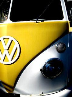 vw van yellow and white bus
