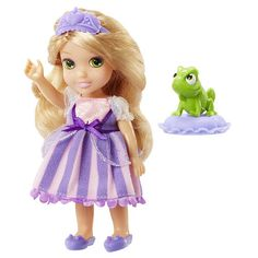 Sweet dreams with Princess Rapunzel! Dressed in her enchanting night gown with her best pal on her royal pillow, this pocket-sized princess will provide the sweetest of dreams. Includes: Petite Toddler, eye mask, pillow, slippers, character friend Asst Includes: Ariel, Aurora, Belle, Cinderella, Jasmine (NEW), Merida, Rapunzel, Tiana.<br><br>The My First Disney Princess 6 inch Doll - Petite Rapunzel with Pascal Features:<br><ul><li>Dressed in her enchanting night...