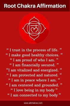 50 Powerful Root Chakra Affirmations to Fast Healingmeditation affirmations, mantras affirmations, positive mantras affirmations, mantras and affirmations , manifestation affirmations and Chakra Affirmations, Positive Affirmations, Healing Meditation, Mindfulness Meditation, Chakras, Chakra Mantra, Muladhara Chakra, Root Chakra Healing, Spirituality