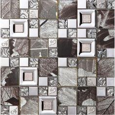 crystal glass mosaice tile silver stainless steel backsplash metal wall backsplashes SBLT803