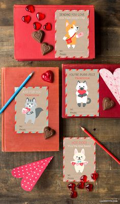 Free Printable: furry friends kid's Valentine cards Valentines For Kids, Valentine Day Crafts, Valentine Cards, Valentine Ideas, Valentine's Day Printables, Printable Cards, Fun Crafts, Crafts For Kids, Paper Crafts