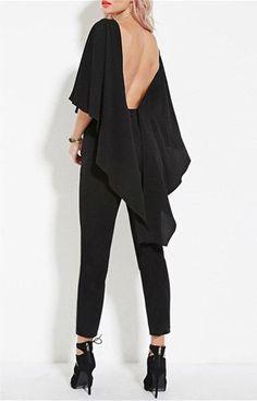 Vogue Scoop Neck Black Open Back Dolman Sleeve Jumpsuit For Women