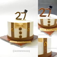 English gentleman themed whipped cream frosted cake#design inspiration-Devoli cakes...