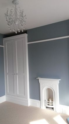 Note: Bespoke fitted wardrobes and cast iron fire place for bedroom Walls painted in steel symphony Alcove Wardrobe, Bedroom Alcove, Bedroom Wardrobe, Built In Wardrobe, Home Bedroom, Bedrooms, Bedroom Storage, Master Bedroom, Edwardian House