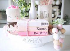 Valentine mini wood mini book stack pink on Mercari Valentines Day Book, Valentine Crafts, Stack Of Books, Mini Books, Diy Valentine's Book, Farmhouse Books, Wood Book, Valentine's Day Printables, Painted Books