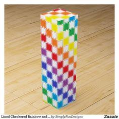 Lined Checkered Rainbow and White Wine Box