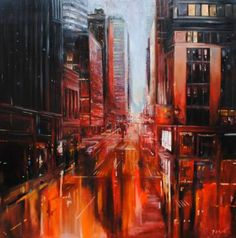 "Saatchi Art Artist Whitney Babin; Painting, ""City In Red"" #art"