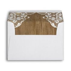 Rustic Barn Wood Texture and Vintage Lace Wedding Envelope Vintage Wedding Envelopes, Floral Wedding Invitations, Bridal Shower Invitations, Wedding Stationery, Rustic Barn, Barn Wood, Rustic Wood, Vintage Lace Weddings, Wedding Lace