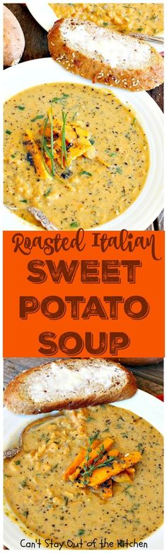 Roasted Italian Sweet Potato Soup | Can't Stay Out of the Kitchen | this #soup is amazing comfort food. Roasting the #sweetpotatoes adds incredible flavor. Plus, the soup is healthy, low calorie, #glutenfree & #vegan.