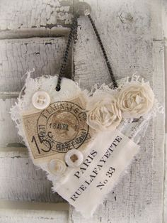 Vintage Paris Ornament Heart Ornament Altered Collage by QueenBe, Shabby Vintage, Vintage Paris, Vintage Crafts, Vintage Heart, Valentine Crafts, Be My Valentine, Fabric Hearts, Shabby Chic Crafts, I Love Heart