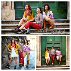 Hannah Ziegeler Photography in Rome, Italy. Fall fashion. Red pants. Sisters. Style. Fashion. Fall trend. Green. Mustard. Scarf Swag. Poses for three. Photography.