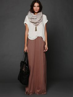 Free people. I love the maxi skirts with baggy tees. Love this style for spring