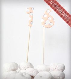 Clay Polka Dot Number Cake Topper - Set of 2 by Hello Plum Studio on Scoutmob Shoppe