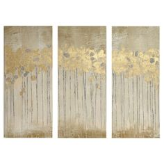 Sandy Forest Gel Coat Canvas with Gold Foil Embellishment 3 Piece Set, Taupe Brown