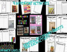 A fun and organized way for word work or spelling centers. There are nine centers included:  *Magic Spelling *Stamp It Out Spelling *Scrabble Spelling *Rainbow Spelling *Word Search Spelling *Roll-A-Dice Spelling *Stencil Spelling *Red and Blue Spelling *Magnetic Spelling $