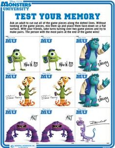 More FREE Monsters University FREE Printables!