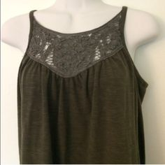 ✨ New ✨ Boho Style Keyhole Tank Top Olive green boho style tank top by Hazel. Never worn. Gorgeous lace detail and flowy fit make this a comfy staple to wear alone or layer in cooler weather. NWOT. Size XS but could fit XS/S. Anthropologie Tops Tank Tops